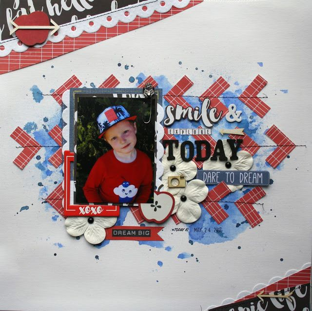 Masculine scrapbook layout in blue and red