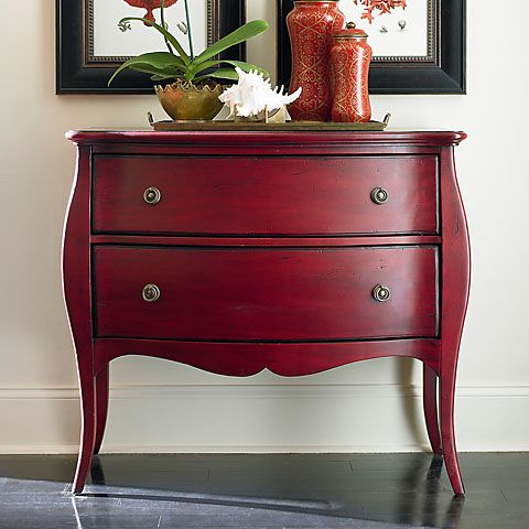 For Entryway   Bassett Furniture Antique Red Bombe Chest