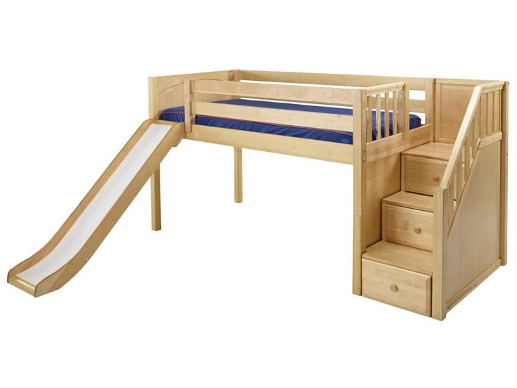 maxtrix twin low loft bed with slide and staircase on end