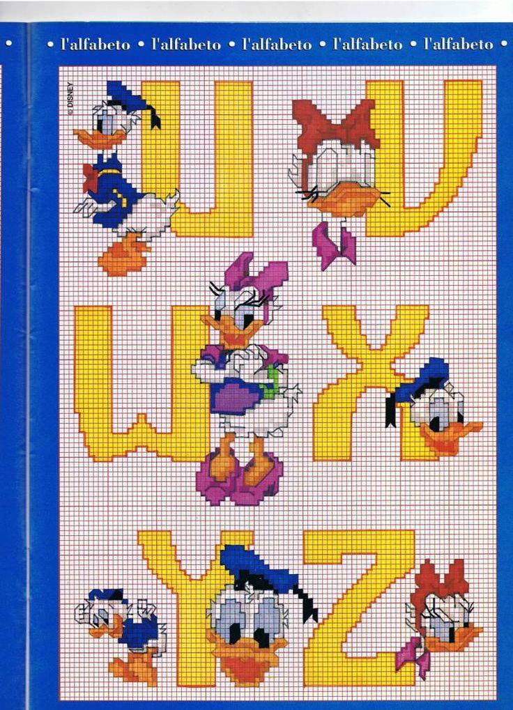 Alfabeto com pato donald e margarida amarela 4 for Alfabeto disney a punto croce