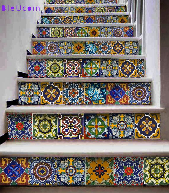 Stair riser strips decal:  Mexican style = 10 strips with 120cm length