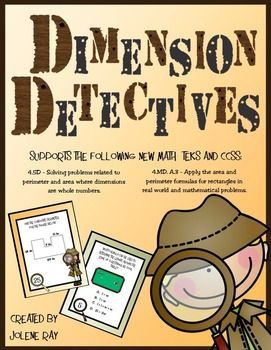 """This activity supports the following New Math TEKS and CCSS:4.5D -  Solving problems related to perimeter and area of rectangles where dimensions are whole numbers.4.MD.A.3 - Apply the area and perimeter formulas for rectangles in real world and mathematical problems.Included with this purchase are 32 detective themed task cards that will give your third, fourth, or fifth grader practice using the formulas for perimeter and area to """"detect"""" the length, width, perimeter, area, and composite…"""