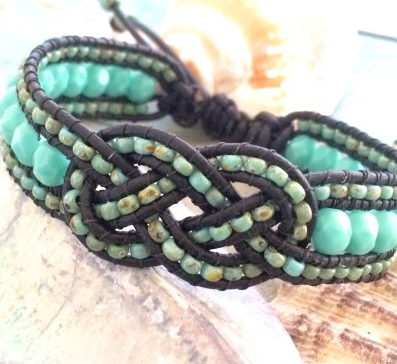 Beaded Josephine Knot Bracelet, Leather Beaded Cuff, Turquoise Jewelry, Adjustable Bracelet, Knot Cuff, Knot Bracelet, Unique Jewelry