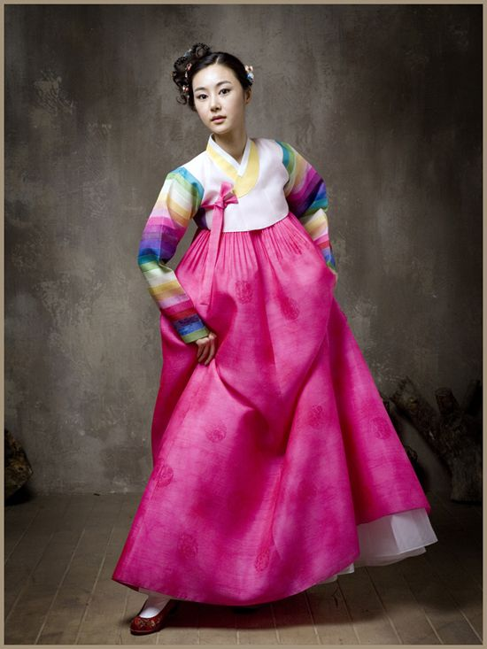 Traditional Hanbok with striped sleeves | The Korea Guide