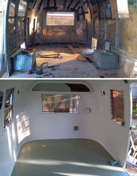 before and after Airstream restoration
