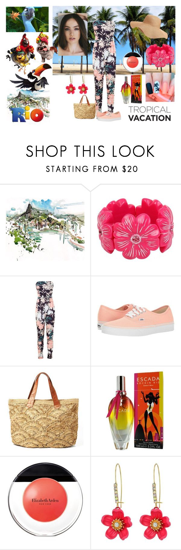 """""""Tropical Vacation"""" by emily-dickson-1 ❤ liked on Polyvore featuring Betsey Johnson, Miss Selfridge, Vans, ESCADA, Elizabeth Arden, Old Navy and rio"""