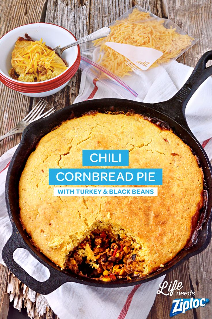 A hearty turkey chili with black beans, corn, red pepper, and topped with a homemade cornbread crust. Goes from the stovetop right to the oven. Super easy and a leaner option than traditional beef chili. Great tip: make the chili base ahead of time and freeze in Ziploc® bags.