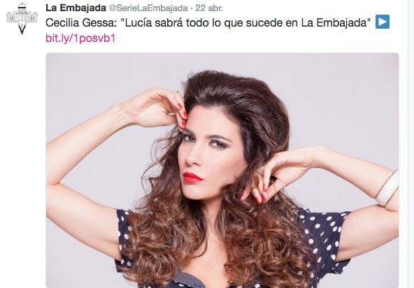 """CECILIA GESSA: Cecilia Gessa: """"Lucía sabrá todo lo que sucede en ... #CeciliaGessa #Laembajada #AntenaTres"""