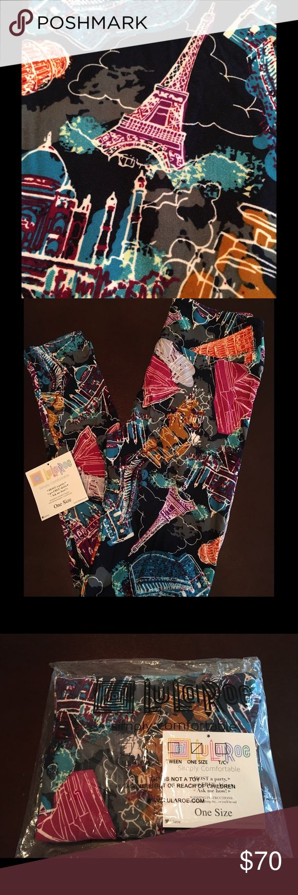 LULAROE OS Landmarks leggings Europe Buildings Brand new with tag. From SF/PF home.   Amazing UNICORN print One Size leggings.  Black background with City buildings, famous monuments like Big Ben, Statue of Liberty, Leaning tower of Pisa.  Perfect for the traveler!  I SHIP OUT FAST. CHECK MY REVIEWS!  **Less on Ⓜ️ercari** LuLaRoe Pants Leggings