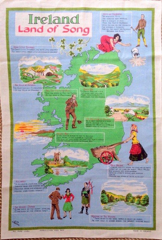 Ireland Land of Song Tea Towel