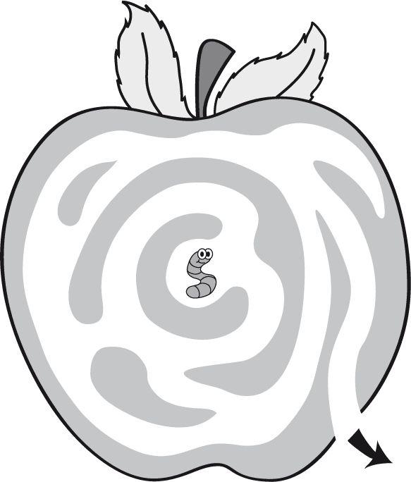 Trace un chemin que le ver peut prendre pour sortir de la pomme. Téléchargez et imprimez le jeu.  #enfant #jeux