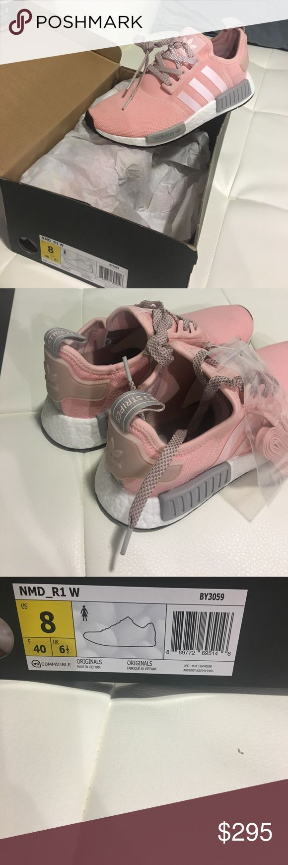 Women's Adidas NMD R1 BY3059 Light Pink Grey Brand New in Box Adidas NMD R1 size 8. Light Pink/ Grey colors 100% Authentic. If you own a pair you are aware they run about 1/2 size big depending on your foot width. I normally wear a size 8.5 in sneakers, but an 8 in these. If interested in another size, let me know I may be able to possibly find your size. Thanks for looking, I bundle 👗🎀🛍 Adidas Shoes Sneakers