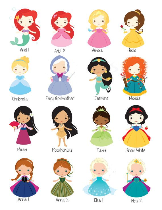 Little Disney Princess Wall Art Digital by ThePurpleMonkeyShop