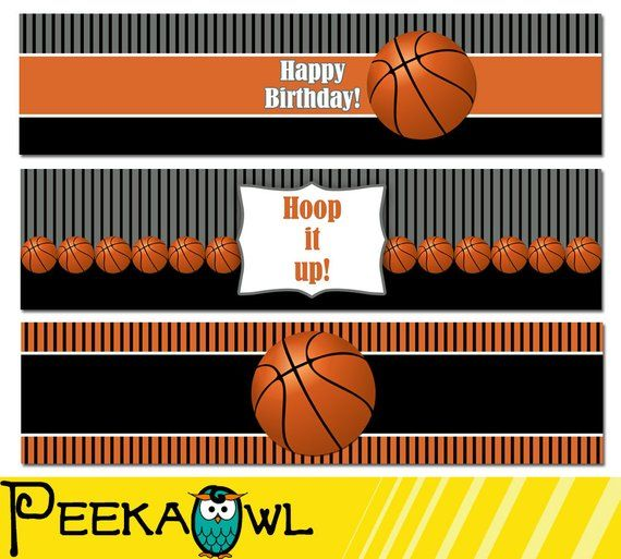 Instant Download Basketball Water Bottle Labels Basketball Birthday Water Labels Basketball Water Labels Birthday Water Labels Basketball Water Bottles Basketball Birthday Basketball Birthday Parties