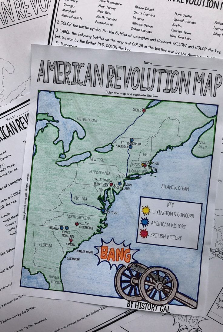 American Revolution Map Activity American Revolution Activities