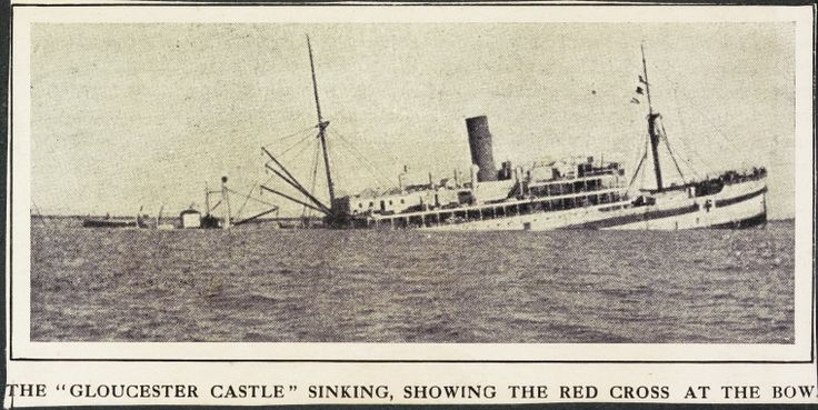 S55b: The Gloucester Castle sinking, the Red Cross at the bow.  https://encore.slwa.wa.gov.au/iii/encore/record/C__Rb4056356