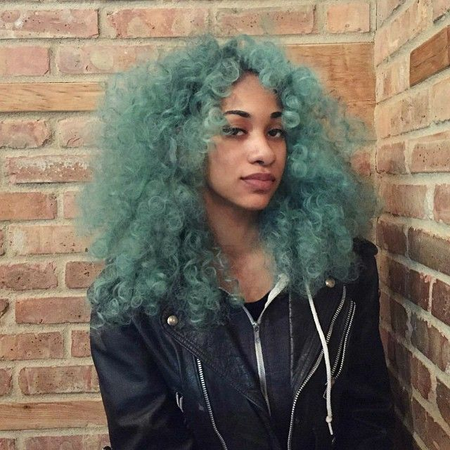 black girl with green hair | curly hair | colorful hair