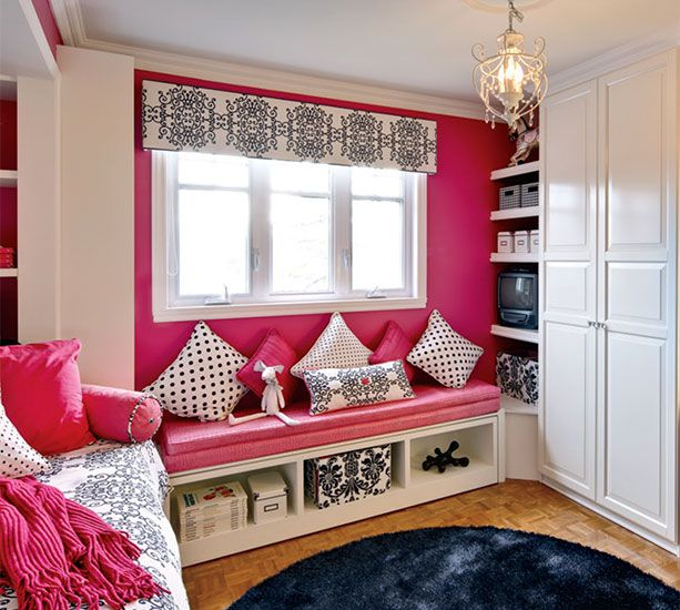 Teenage girl bedroom teen loft beds pinterest pink black girls and window for Chambre loft ado