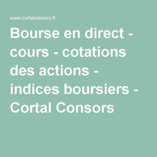 Bourse en direct - cours - cotations des actions - indices boursiers - Cortal Consors