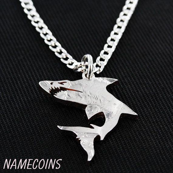 Haai ketting Oceaan sieraden hand gesneden halve door NameCoins