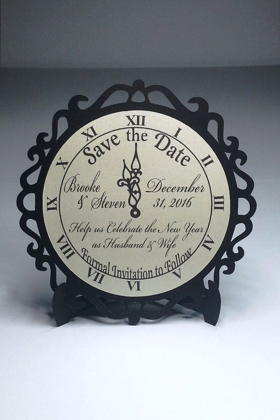 4 New Year's Eve Wedding Clock Save the Date by WeddingTrousseau