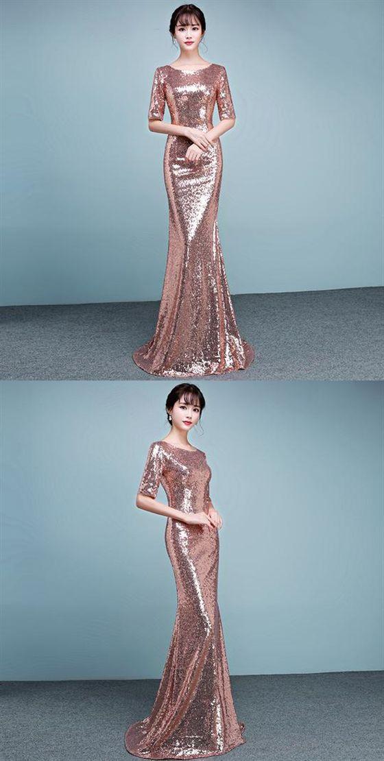d5fb843845 Rose Gold Long Sleeves Sequin Prom Dresses,Mermaid Graduation ...