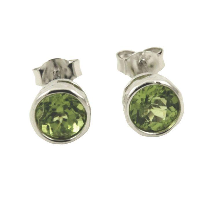 Sterling Silver Peridot Earrings Studs