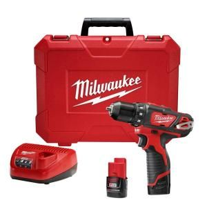 Milwaukee M12 12-Volt Lithium-Ion 3/8 in. Cordless Drill/Driver Kit-2407-22 at The Home Depot