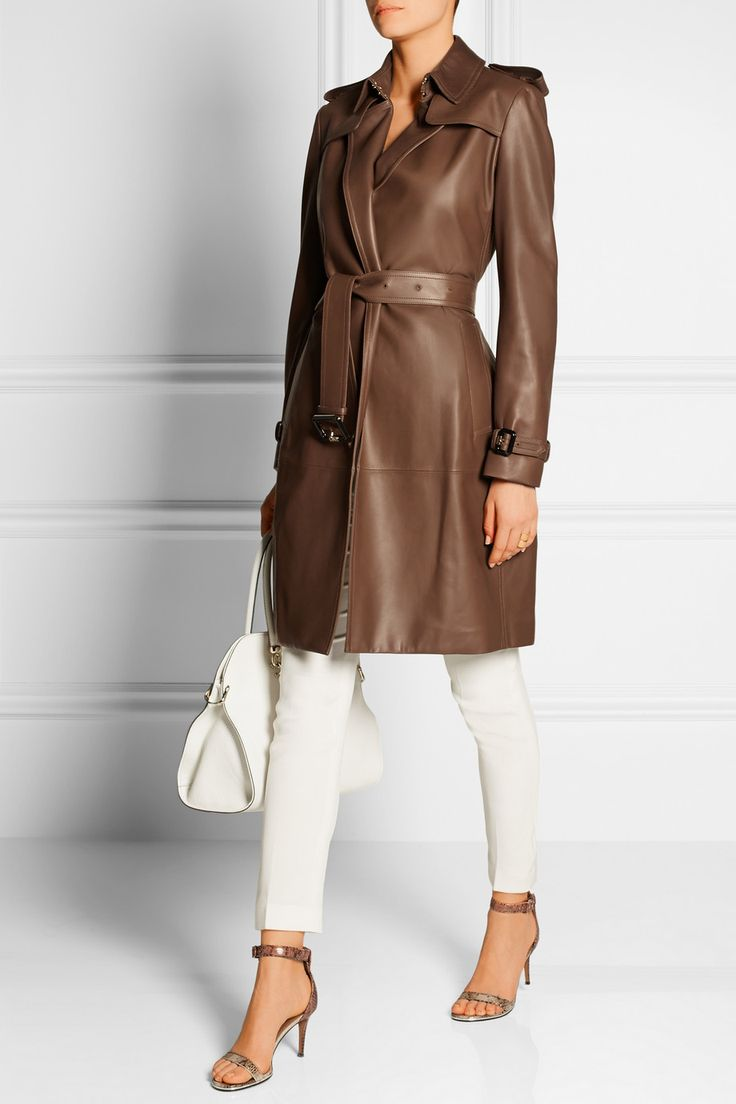 Burberry London|Cullingham leather trench coat|EDITORS' NOTES & DETAILS Burberry London's 'Cullingham' trench coat is a timeless staple. This sleek design is crafted from supple chocolate leather and tailored in a classic silhouette - complete with epaulettes, shoulder flaps and a flattering belted waist. Style yours over white pants for a chic finish.