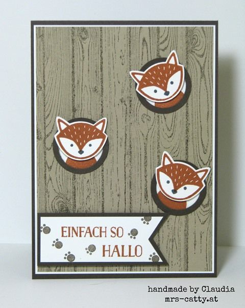 "Stamps: Hardwood, Foxy Friends. Punches: 1-1/4"" circle, 1"" circle, flag. Colors…"