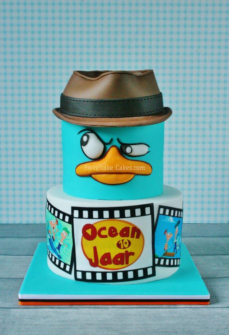 Phineas en Ferb taart / Perry het vogelbekdier taart  Phineas and Ferb cake / Perry platypus cake