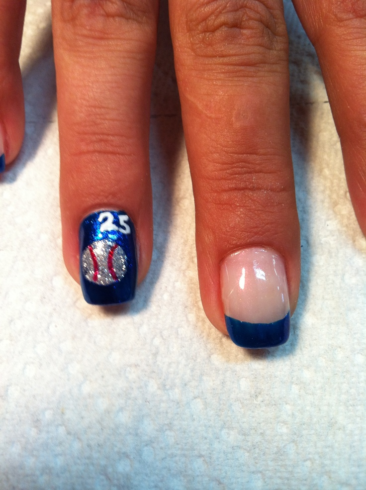 I am going to do this, except the blue is going to be purple for - Best 25+ Softball Nails Ideas On Pinterest Baseball Nail Designs