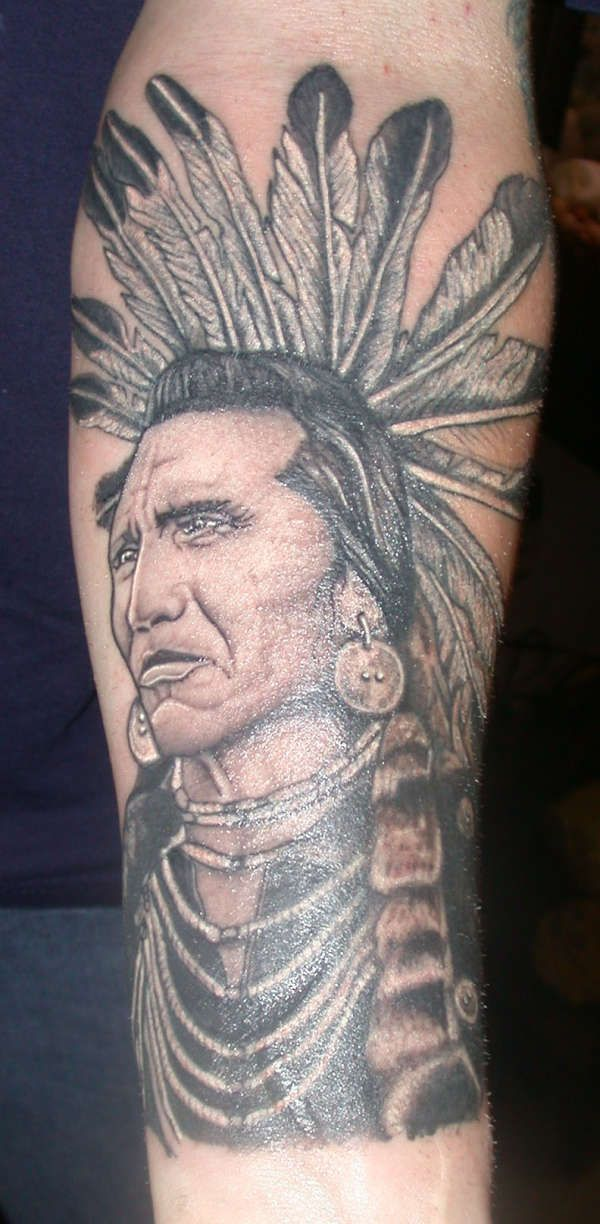 Native American Indian Chief Portrait Tattoo