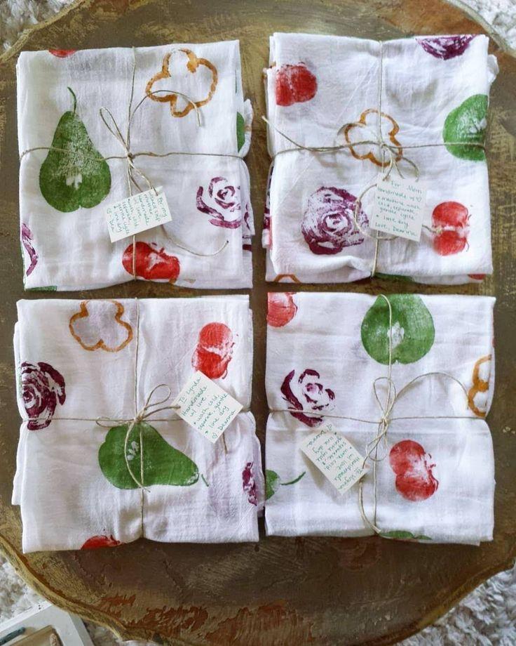 Craft Project Diy Fruit Veggie Stamped Flour Sack Tea Towels
