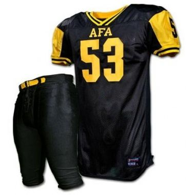American Football Uniforms:- SKU: SSW-12707 The hot shot collection of football uniforms now has a super cool variant introduced with the Raging Black and Yellow Uniform making a splashing entry. The super cool uniform has the jersey going in all black textured base, which is highlighted with signature yellow border on v neckline and a dashing panel on under arm area. The thin piping running through the sides in yellow add super contrast to the pin thin white stripe running through the top…