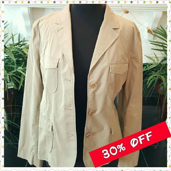 SALE $28  Talbots Khaki Blazer Khaki Blazer Long Sleeved, buttons, made of 96% Cotton, 4% Spandex. Size 16 Talbots Jackets & Coats Blazers