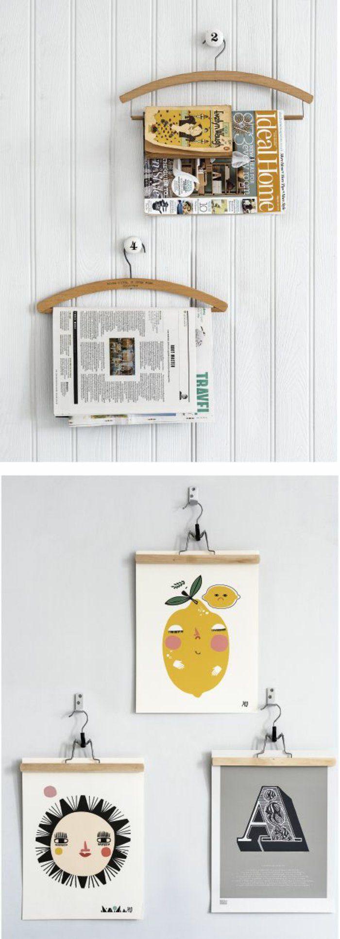 comment réutiliser ses anciens cintres en bois, astuce déco pour vos murs