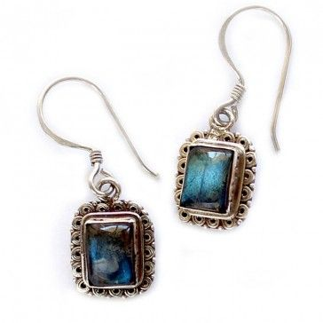Square Labradorite Silver Earrings