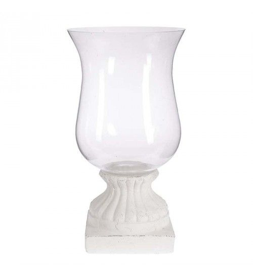 CERAMIC_GLASS CANDLE HOLDER IN WHITE COLOR 28X28X51