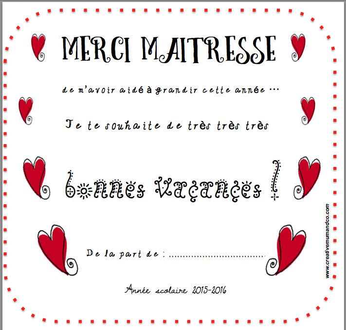 """Une jolie carte """"Merci Maîtresse"""" à télécharger GRATUITEMENT !"""