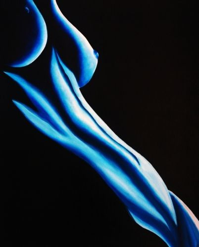 Blue Moon Rising, Blue Nude Painting by k Madison Moore by k. Madison Moore Contemporary Fine Artist