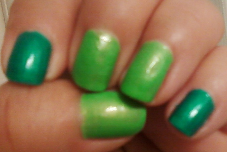 NOTW 5/28/12   LUUUX    It was time for the weekly mani and a polish change and since summer is around the corner I chose two neon bright colors.    China Glaze  Turn Up The Turquoise is a shimmery polish that drys matte.    Spoiled  I'm So Jaded is a bright neon lime green with shimmer.