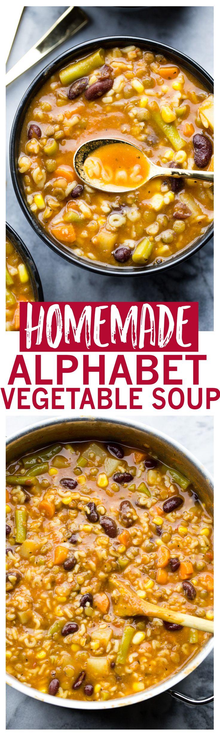 Homemade Alphabet Vegetable Soup   Hearty, vegan, freezer-friendly