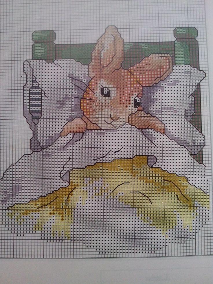 Cross Stitch Beatrix Potter Peter in bed - Pattern / Patrón -Álbum colección Cuadernos nº 13 , Los labores de Ana.