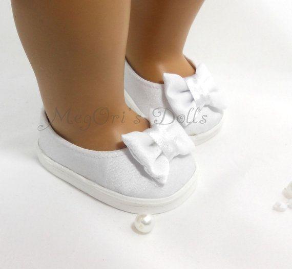 American Girl Dolls Белый атласные туфли девушки цветка, первого причастия, свадебные туфли