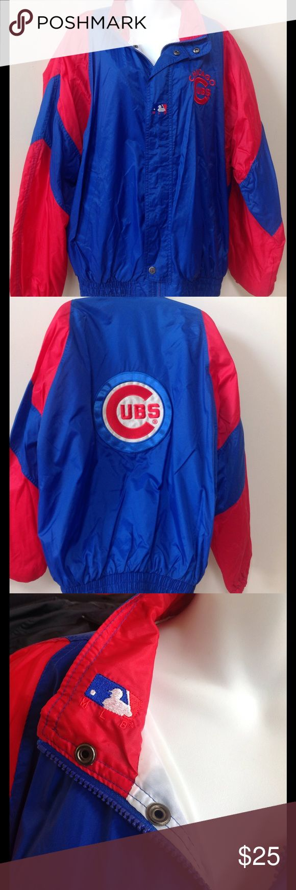 CHICAGO CUBS Zip Front Windbreaker WORLD SERIES CHAMPS! This is a nice old school Cubs jacket. Cool MLB details on collar, placket and zipper toggle. Side pockets. Fully lined. Turbo Sportswear Jackets & Coats Windbreakers
