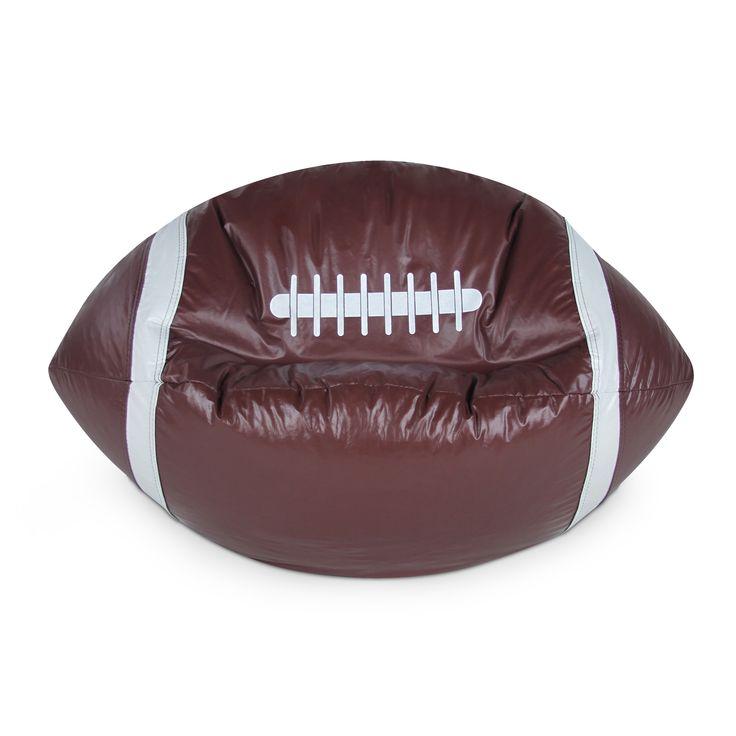 Football Junior Sports Vinyl Pure Bead Bean Bag, Beige