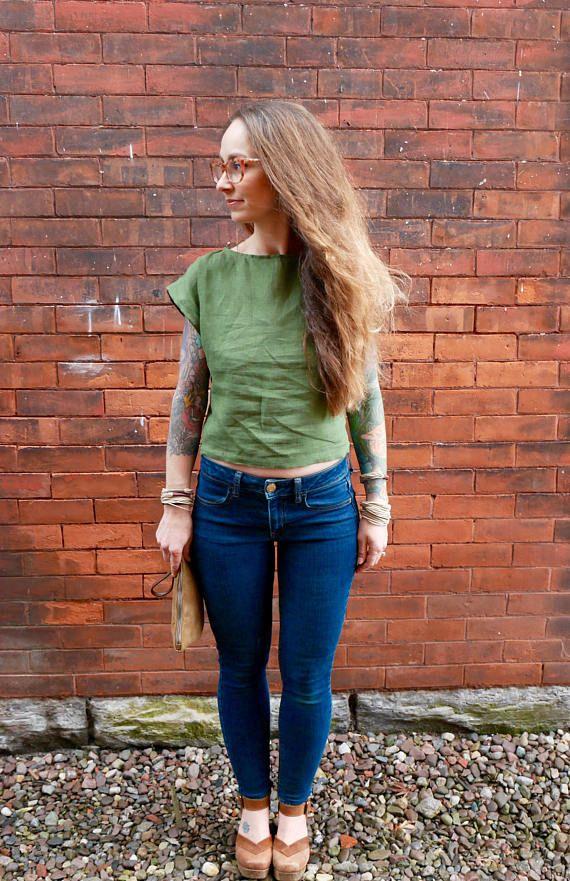 Olive Green Linen Cap Sleeve Crop Top ShirtPlus Size Linen