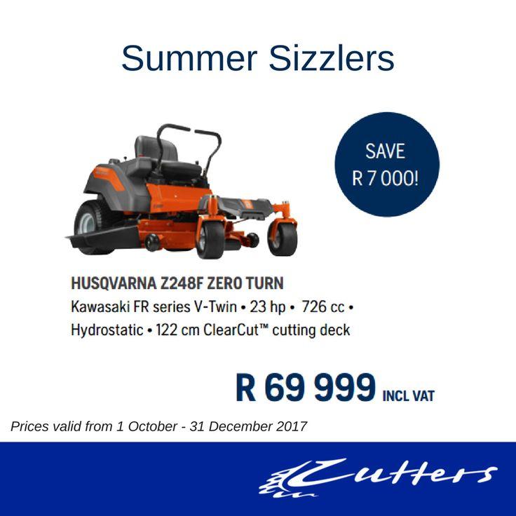 ** Summer Sizzlers ** HUSQVARNA Z248F ZERO TURN Kawasaki FR series V-Twin  • 23 hp • 726 cc • Hydrostatic • 122 cm ClearCut™ cutting deck