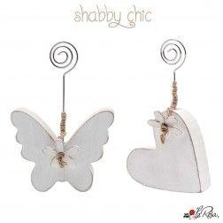 Segnaposto farfalla e Cuore con Clip Shabby Chic per Matrimonio e Comunione Economiche